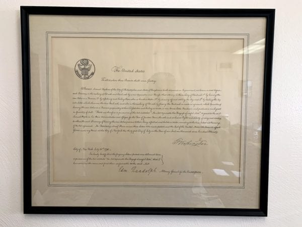 Samuel Hopkins First Patent, Framed Legal Document Signed by George Washington, City of New York, July 31 1790