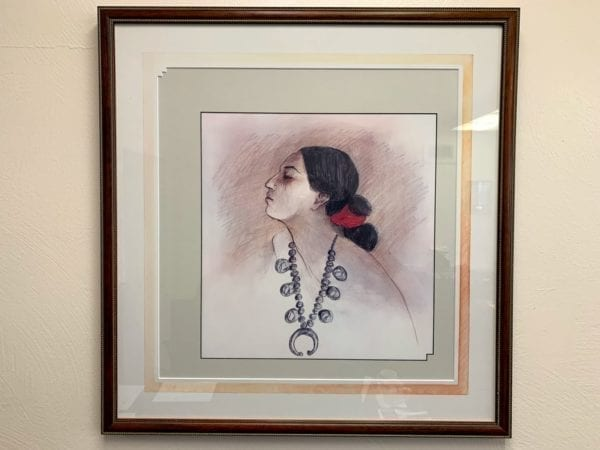 Framed and Matted Woman Sketch Artwork, Unknown Artist.