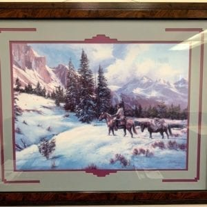 Lee K Parkinson Print Winter Landscape With Mountain Man