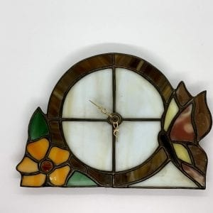 Beautiful Vintage Stained Glass Floral Clock - Hand Made